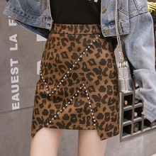 S-XXL Rivets Leopard Print Skirt Women Winter Autumn Korean Fashion Mini Jupe Femme Harajuku All-match A Line Skirt High Waist недорого