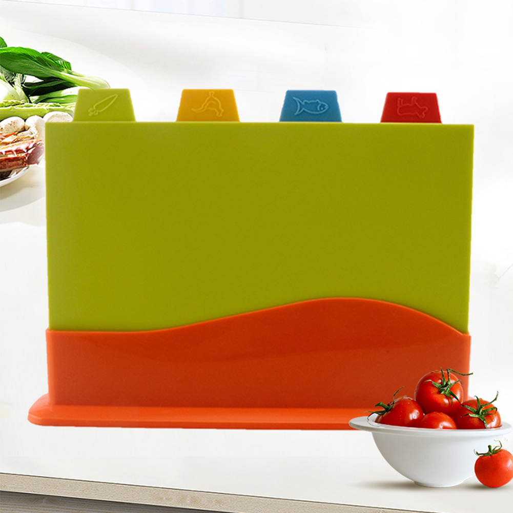 Stand Chopping-Board-Set Vegetables Cutting Kitchen Fruit 4pcs With Colour Coded Meat