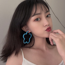 Fashion earrings hollow flower shape blue yellow resin exaggeration big drop earirngs for women jewelry girl student gifts