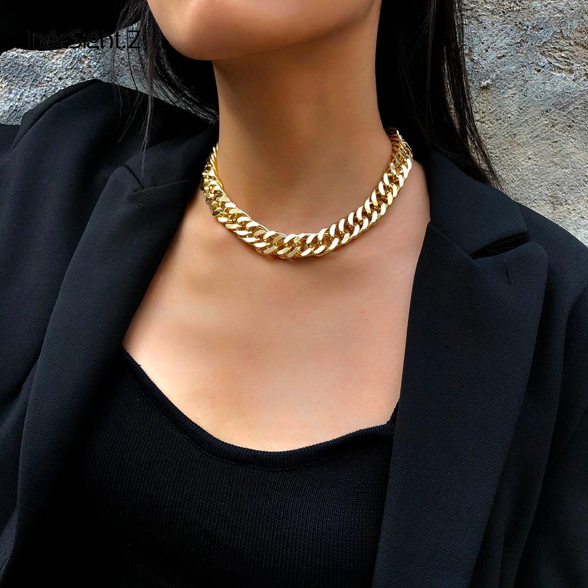 IngeSight. Z панк хип хоп панцирное кубинское толстое короткое колье, мужское простое минималистичное массивное ожерелье воротник, Женские Ювелирные изделия, вечерние|Ожерелья-чокеры| | - AliExpress