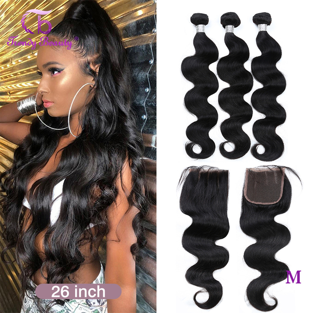 Brazilian Body Wave Human Hair 3/4 Bundles With 4x4 Lace Closure Middle/Free/Three  Non Remy Free Shipping Trendy Beauty Hair