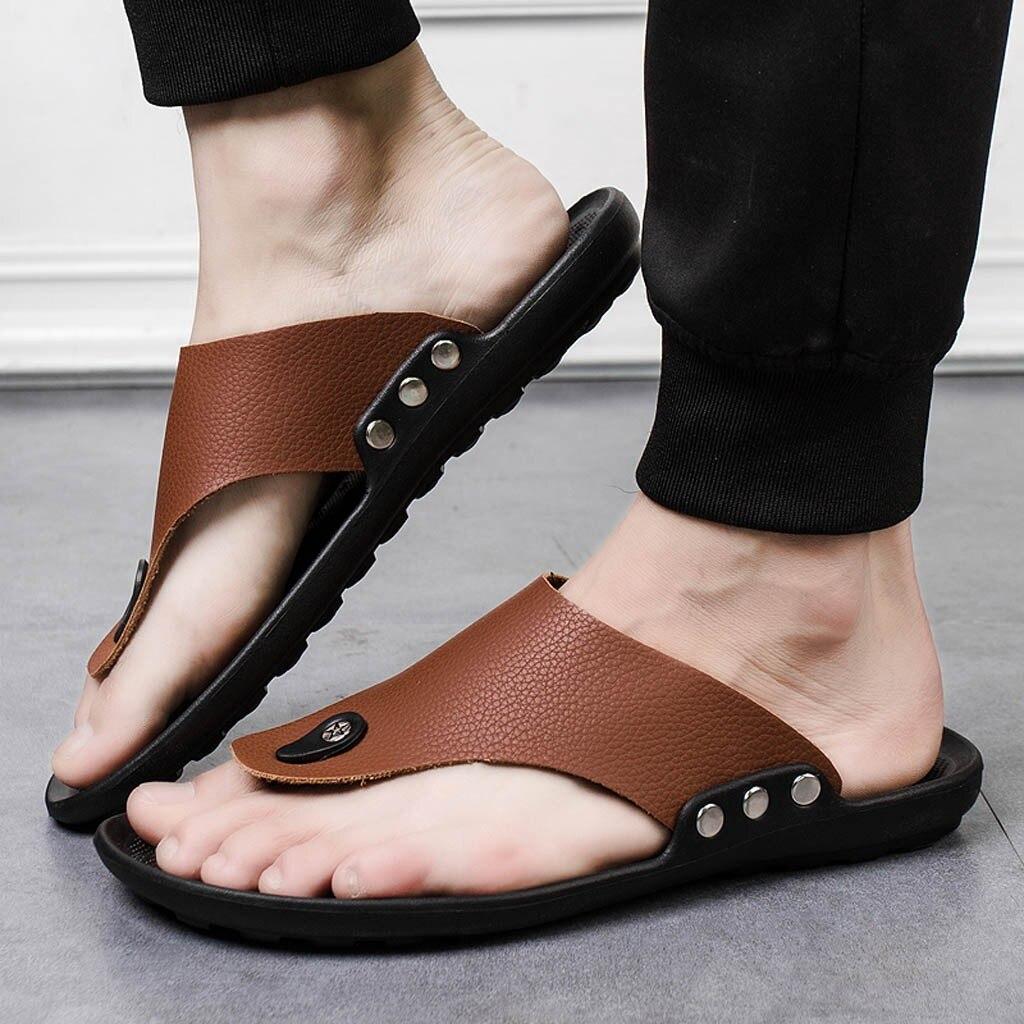 Comfort Sandals Summer Men Beach Flip Flops Shoes Sandals Open Toe Slipper Indoor Outdoor Flip-flops 40-44 Male Shoes Dropship