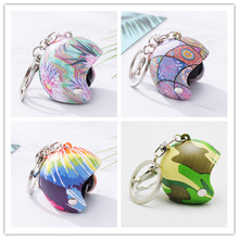 2019 Cartoon Mini Motorcycle Helmet Key chain For Male and Women Car Accessories Keychains Pendant children Toys Gift key Ring