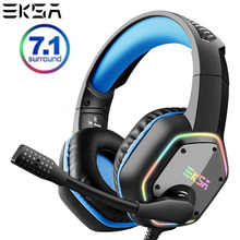 EKSA E1000 7.1 가상 서라운드 게임용 헤드셋 RGB 라이트 스테레오 사운드 게이머 헤드폰, PC PS4 용 슈퍼베이스 마이크 포함