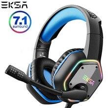 Eksa e1000 7.1 surround virtual gaming headset rgb luz estéreo som gamer fones de ouvido com microfone super bass para pc ps4