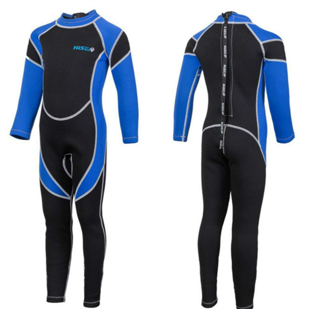 Купить с кэшбэком 2.5MM Neoprene Wetsuits Kids Swimwears Diving Suits Long Sleeves Boys Girls Surfing Children Rash Guards Snorkel One Pieces h1