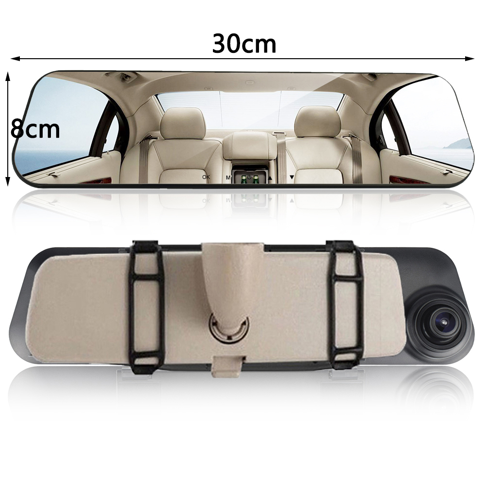 Car Dvr Dual Lens Car Camera White Rearview Mirror Recorder With Rear View Camera Video Registrator Auto Vehicle Dvr Dash Cam 5