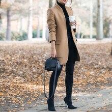 Winter Khaki Coat For Women Wide Lapel Pocket Woollen Cloth & Polyester Wool Blend Coat Oversize Lon