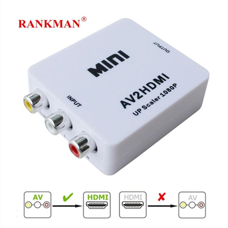 Rankman AV RCA to HDMI 720 1080p Adapter HDMI to AV RCA Converter CVBS PAL L