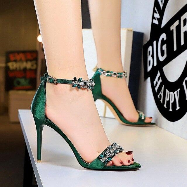 9cm High Heels Crystal Sandal Stiletto Satin Strap Heels  2