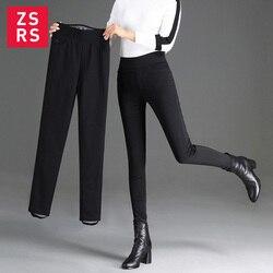 Zsrs зимние женские пуховые брюки плюс размер бархатные брюки утепленные женские теплые брюки леггинсы брюки с высокой талией 5XL