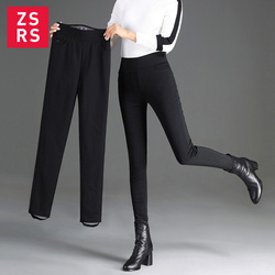 Zsrs Winter Women Down Pants Plus Size Velvet Trousers Thickening Slim Thermal Female Warm Trousers Legging High Waist Pants 5XL