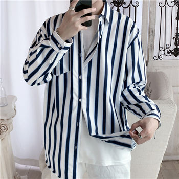 Korean Striped Shirt Men's Fashion Contrast Color Business Casual Shirt Loose Dress Shirt Men Streetwear Long-sleeved Shirt Mens contrast vertical striped shirt
