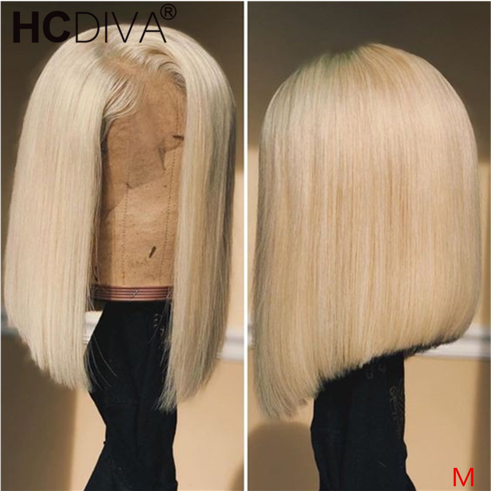 Blonde 613 Lace Front Wig For Women Short Bob Lace Front Wig Remy Brazilian Straight Lace Front Wigs Pre Plucked With Baby Hair