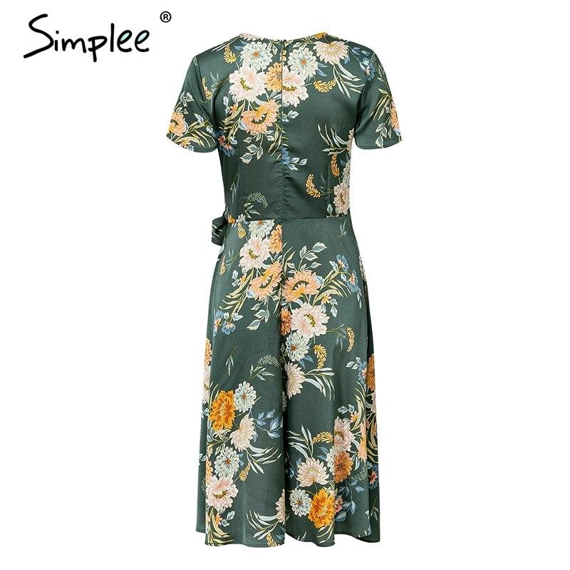 Женское летнее атласное платье Simplee, с цветочным принтом, элегантное пикантное зеленое повседневное платье с запахом, с V-образным вырезом, з...
