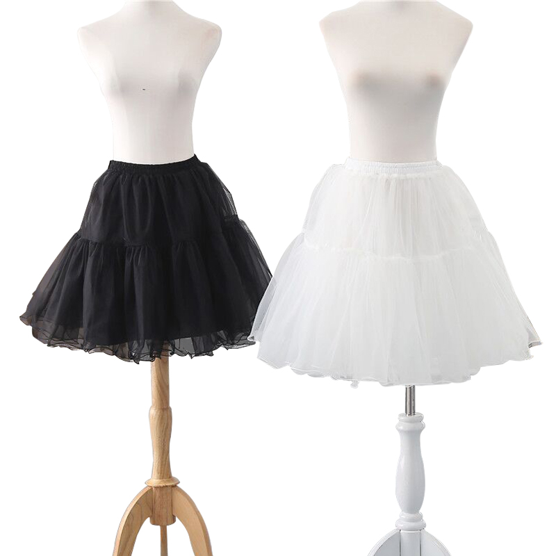 New 2 Layer Lady Short Petticoat Wedding Chiffon Pleated Prom Skirt  Lolita Tutu Circle Underskirt Festival Carnival Skirts Slip