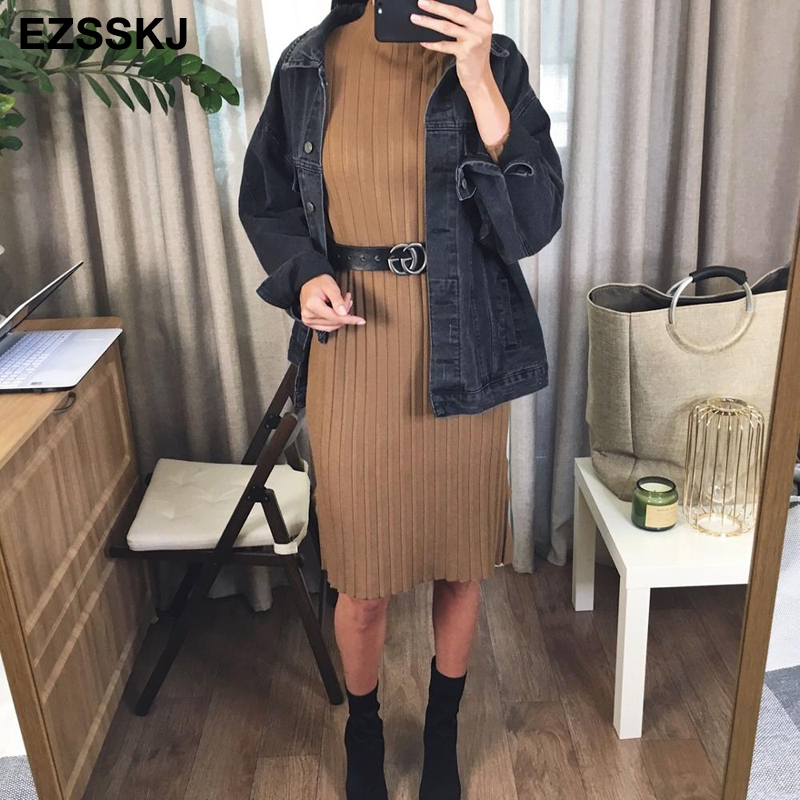 Image 5 - chic oversize thick long sweater dress women Half high autumn winter straight sweater dress female casual loose knit dress-in Dresses from Women's Clothing