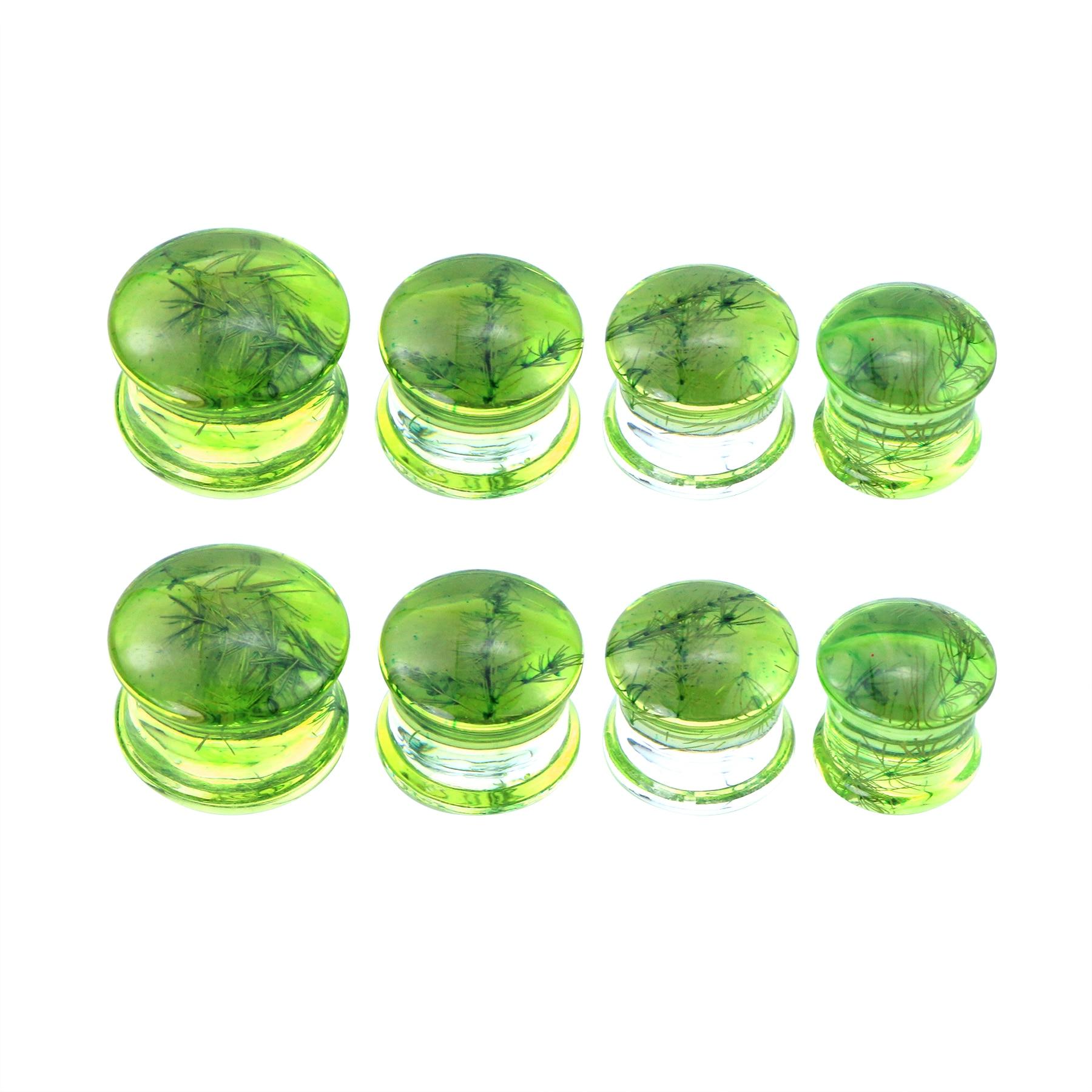 2Pcs Green Resin Ear Gauges Acrylic Ear Plugs Tunnels Branch specimen Earrings Piercing Expander Body Piercing Jewelry