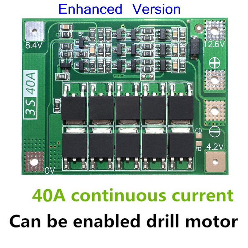 3S 40A Li-ion Lithium Battery Charger Protection Board PCB BMS For Drill Motor 11.1V 12.6V Lipo Cell Module image