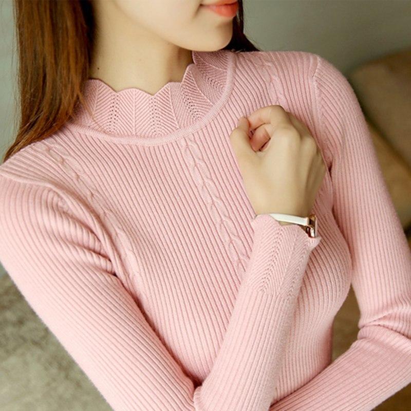 SEXMKL Women Sweater High Elastic Turtleneck 2020 Winter Korean Fashion Sweater Women Slim Sexy Bottoming Basic Knit Pullovers
