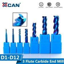XCAN 1pc 1 12mm 블루 코팅 3 플루트 초경 엔드 밀 알루미늄 커팅 밀링 커터 나선형 라우터 비트 CNC 엔드 밀
