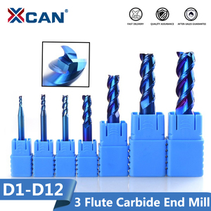 Image 1 - XCAN 1pc 1 12mm Blue Coated 3 Flute Carbide End Mills Aluminum Cutting Milling Cutter Spiral Router Bit CNC End Mill