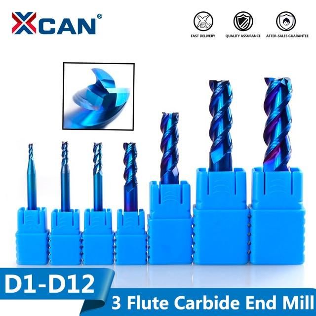 Xcan 1 Pc 1 12 Mm Blauw Gecoat 3 Fluit Carbide End Mills Aluminium Snijden Frees Spiraal Router bit Cnc End Mill