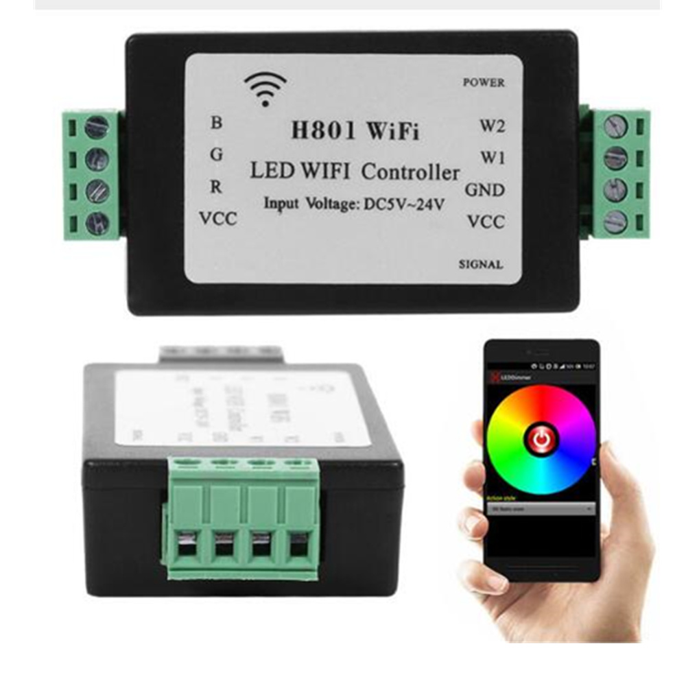 1pcs H801 WiFi;RGBW LED WIFI Controller;RGBW WiFi LED H801 Controller;DC5-24V Input;4CH*4A Output