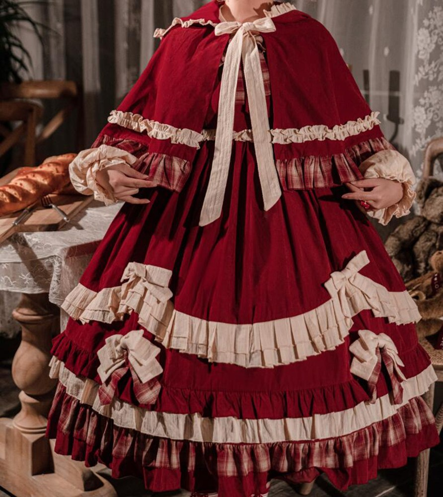 Japanese JSK Lolita Dress Vintage Kawaii Little Red Hood Long sleeve Bowknot Carousel Lolita Cosplay Dress Maid Costume
