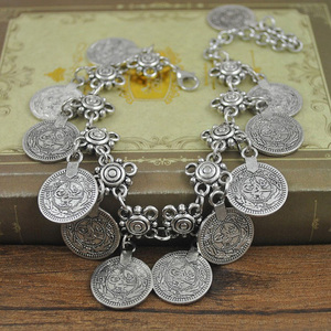 Image 2 - Antique Coin Pendant Chain Bracelet Silver Color Turkish Allah Carved Round Tag Adjustable Foot Chain Anklet