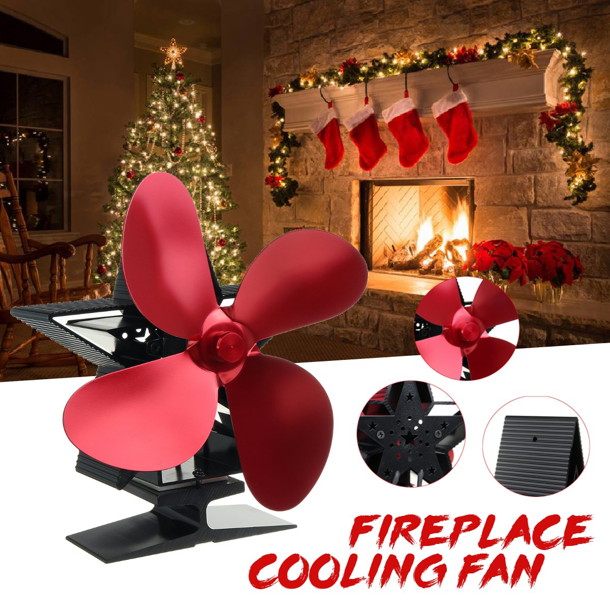 Red Stove Fan 4 Blade Fireplace Fan Heat Powered Komin Wood Burner Eco Fan Friendly Quiet Home Efficient Heat Distribution