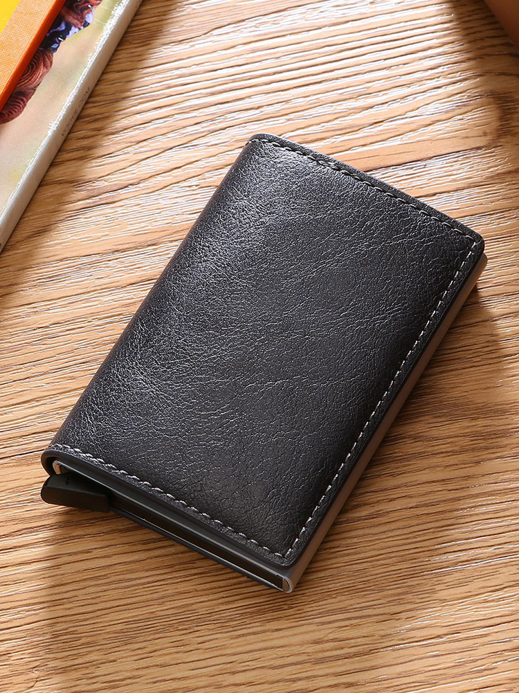 DIENQI Slim Wallets Purse Card-Holder Money-Bag Short Thin Black Vintage Small Male