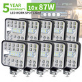 Car LED Work Flood Spot Combo Light 3030 SMD 87 Watts Bright 6500K DC 12-24 Volts Spotlights Truck 4x4 4WD