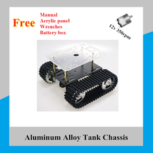 Smart Robot Tank Chassis Tracked Car Platform with 12V 350rpm Motor for Arduino DIY Robot Toy Part T100 New Arrival 2018 cheap robot tank chassis platform diy chassis smart track huanqi for arduino sinoning sn700