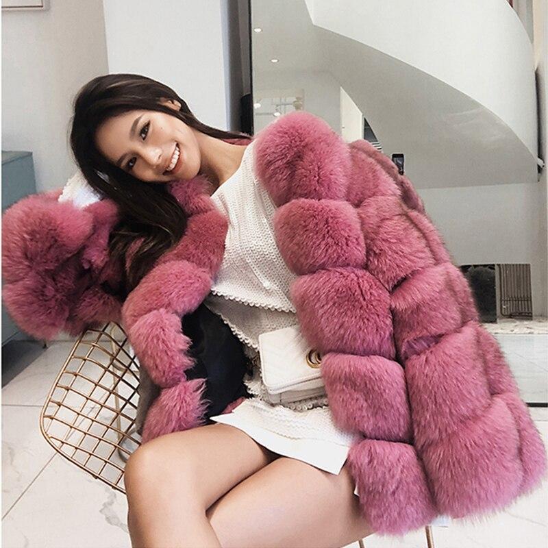 Winter Super Warm Full Pelt Real Fox Fur Coat Natural Fur Jacket Long Sleeve High Street Women's Real Fur Coats Rf1928