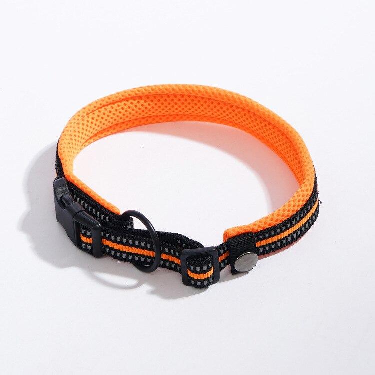 Pet Sandwich Thick Mesh Breathable Neck Ring Set Dog Cat Bandana Adjustable Size Reflective