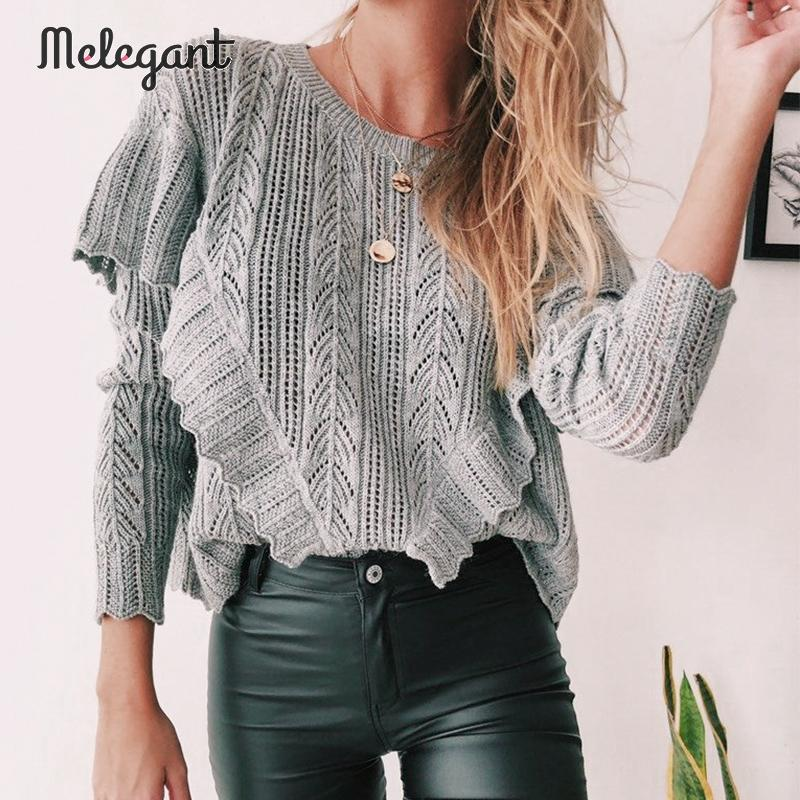 Melegant Knitted Sweaters 2019 Fashion Hollow Out Crochet Pullovers Women Autumn Winter Female Ruffles Long Sleeve Jumpers Tops