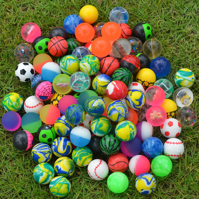 32MM  Rubber Bouncy Ball Bouncing Ball Transparent Buoyancy Ball Children Small Outdoor Toy Ball Kids Boy Girl Gift Color Random