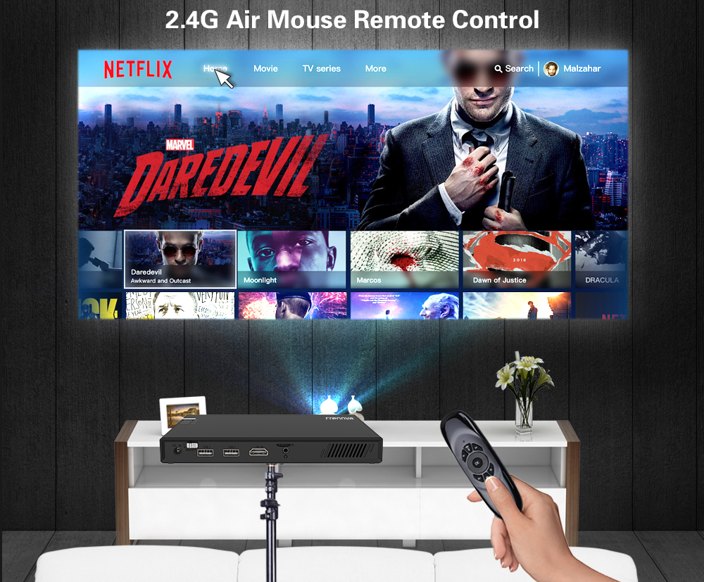 CRENOVA Wireless and Remote Control Mini Projector With Bluetooth and 16GB ROM 17