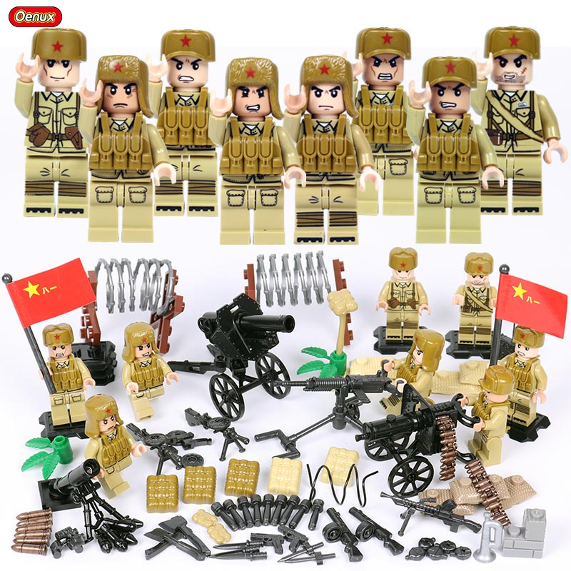 Oenux New World War 2 Mini Chinese Eighth Route Army Soldiers WW2 Sino-Japanese War Military Legoings Building Block Brick Toys