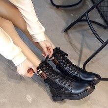 Новые модные повседневные женские Ботинки martin удобные женские ботинки из дышащей ткани на шнуровке женская обувь на толстой подошве; Размеры 35-40