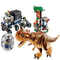 10926 Compatible Legoinglys Jurassic World 2 Carnotaurus Gyrosphere Escape Building Block Toys For Children Bricks Toys Dinosaur