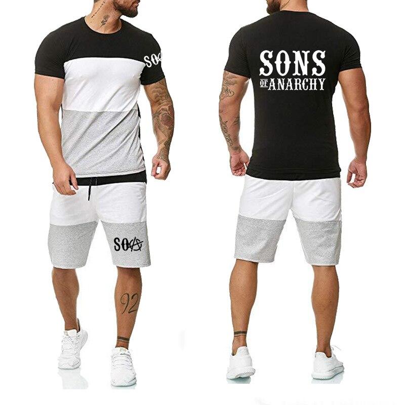 Summer Men's Short Sleeve SOA Sons Of Anarchy The Child SAMCRO Print Cotton High Quality T-shirt Shorts Suit Suit 2pcs