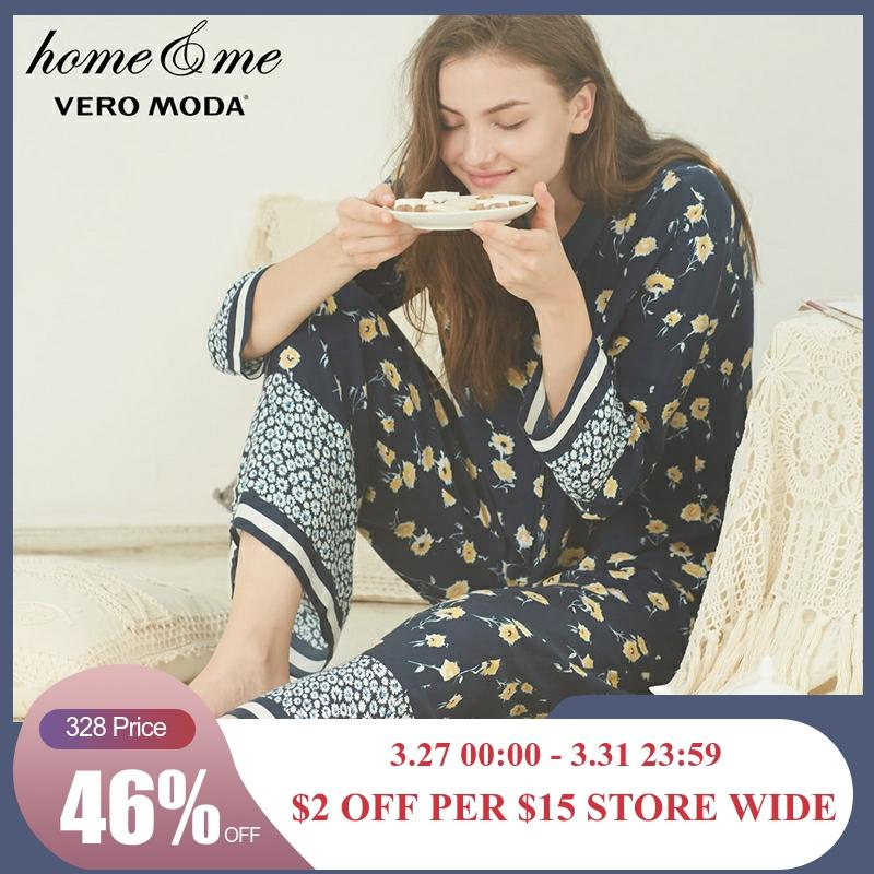 Vero Moda New Women's Elasticized Waist Wide-leg Straight Fit Pajama Sleepwear Pants  3181P7510