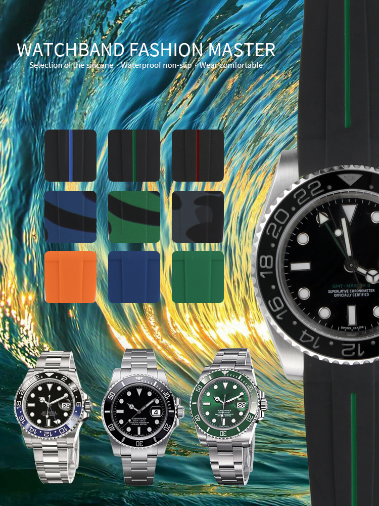 Waterproof Watchband Rubber Silicone Strap For Role Watch Sports Watchstrap For Submariner GMT Master Day Tona Deep Sea Oyster