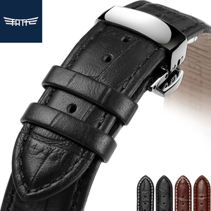 FATT Leather Watch Strap Black Brown For Men and women 18mm 19mm For MIDO Casio Tissot Longines Citizen strap(China)