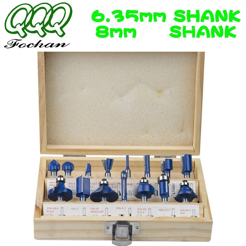 QQQ15pcs 6.35/ 8MM SHANKRouter peu fraise bois forets à tige droite carbure outils de coupe à bois l'aneth Bits bricolage 01015