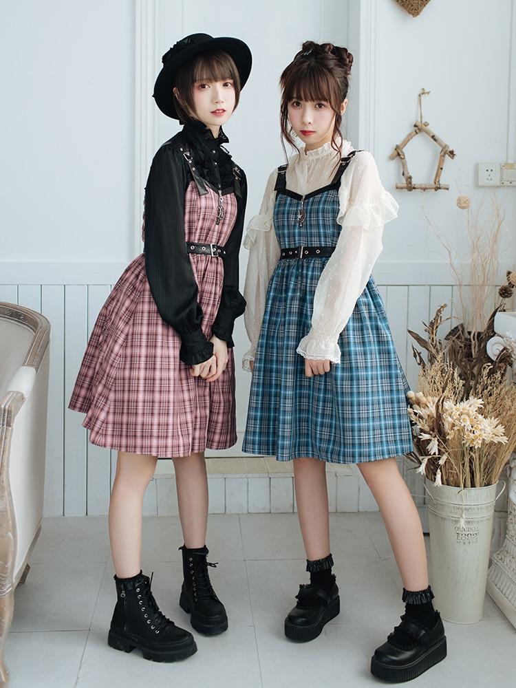 Japanese girl plaid vest jsk victorian dress kawaii girl gothic lolita jsk loli high waist princess victorian jsk JK uniform JK