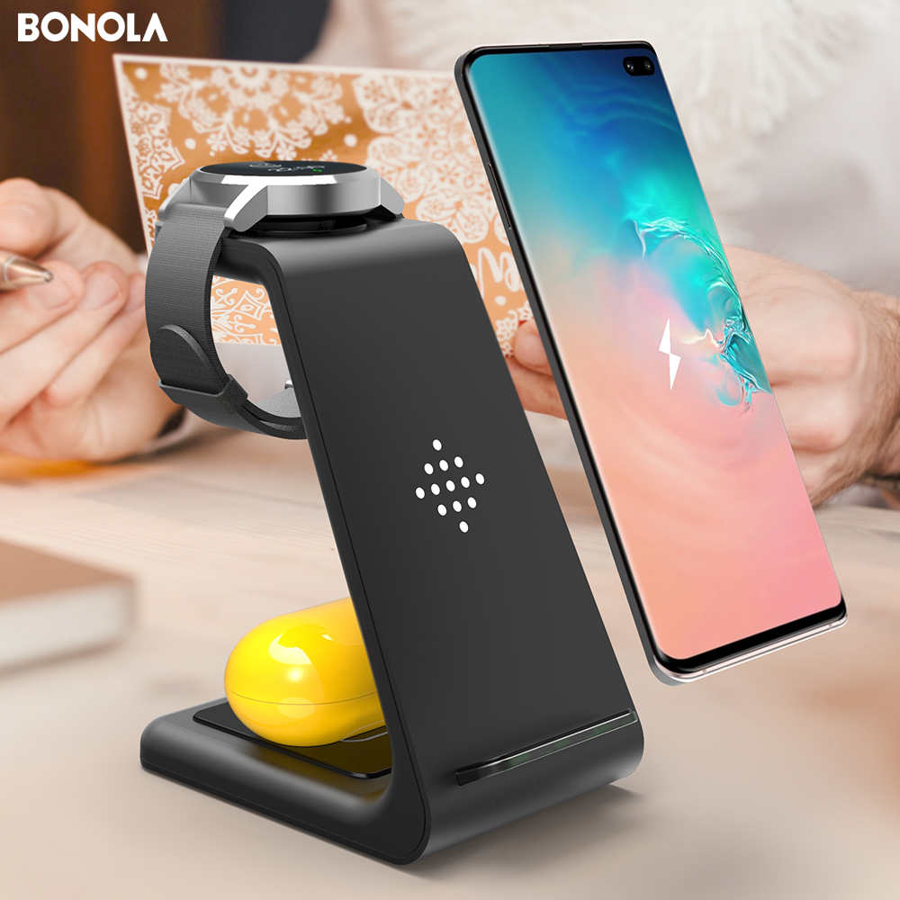 Bonola 3 in1 Wireless Charging Station For <font><b>Samsung</b></font> Galaxy Watch/Buds/S10/<font><b>S9</b></font> Fast Qi Wireless <font><b>Charger</b></font> For <font><b>Samsung</b></font> Note10/Note9/S8 image