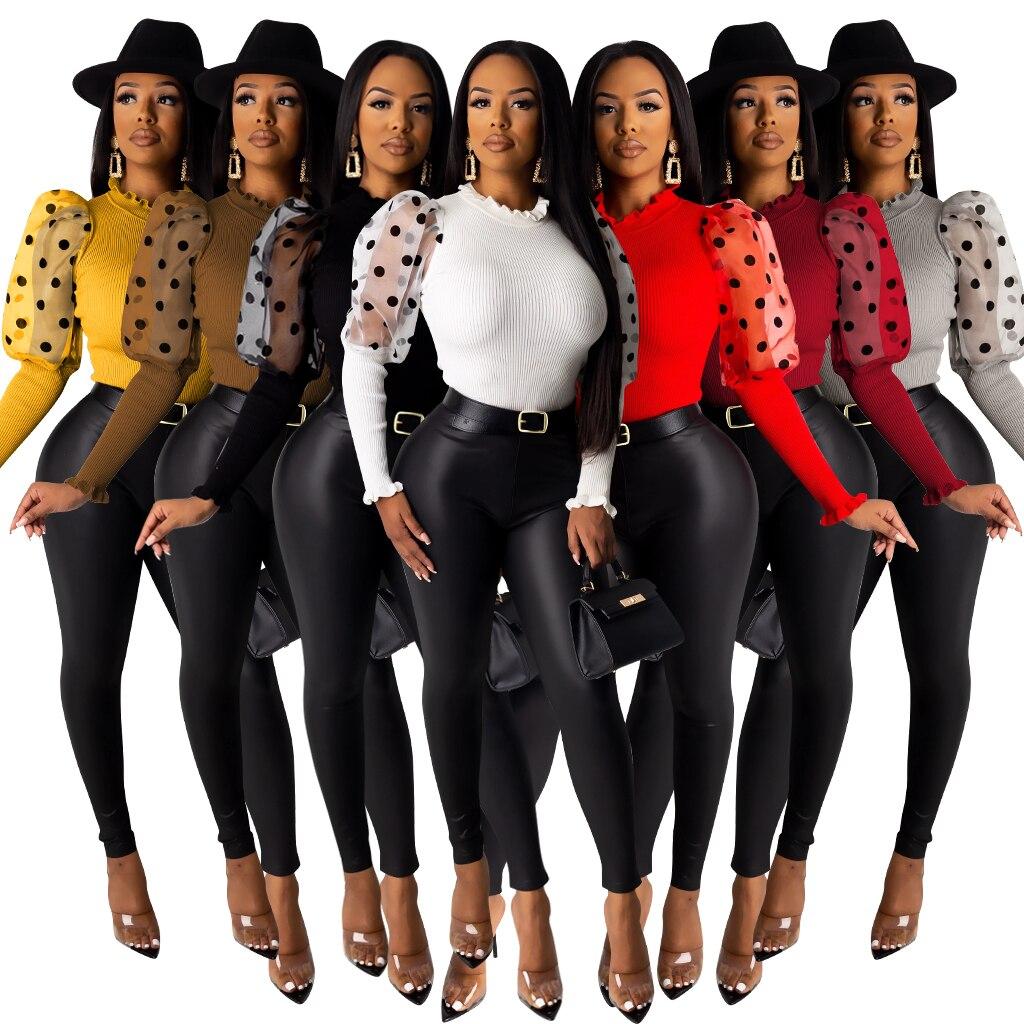 Fashion Mesh Sheer Polka Dot Puff Sleeve Ribbed Knitted Blouse Women 2020 Spring Casual Turtleneck Elegant Slim Pullover Shirt